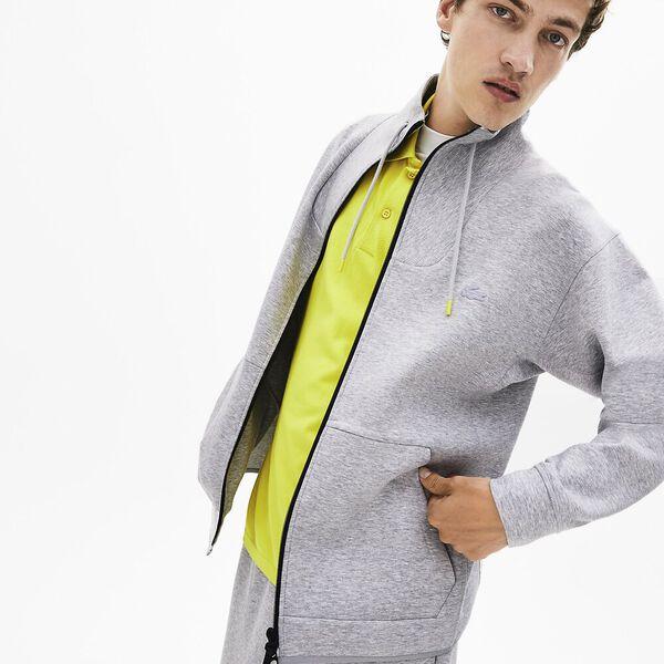 Men's Lacoste Motion Zip Front Sweatshirt, SILVER CHINE, hi-res
