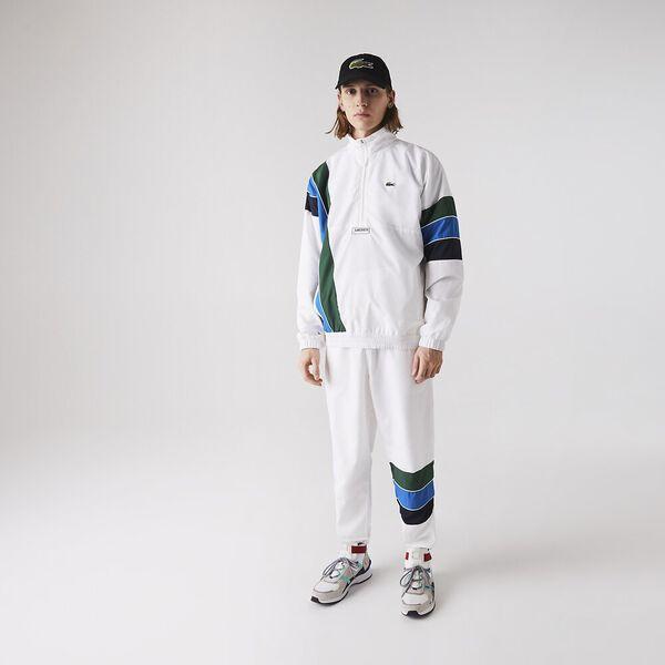 Men's SPORT Zip Neck Lightweight Water-Resistant Jacket, WHITE/NAVY BLUE-UTRAMARIN, hi-res