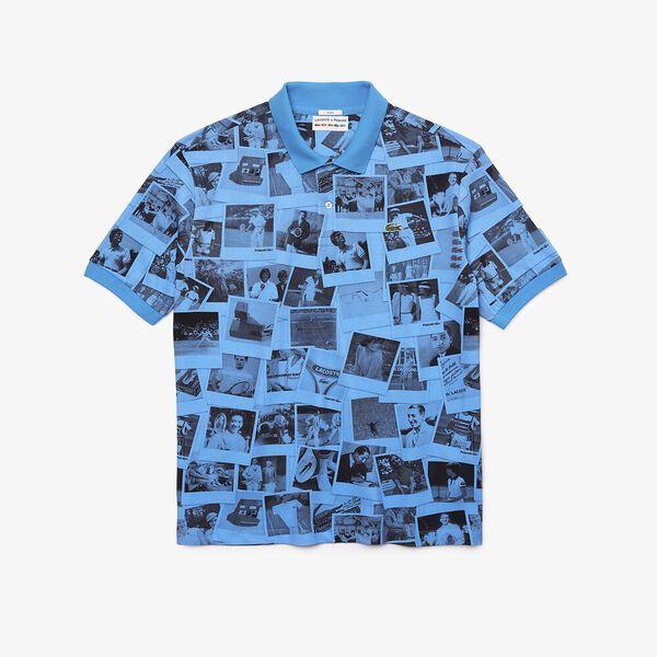 Unisex Lacoste Live x Polaroid Loose Fit Print Polo, FIJI/BLACK, hi-res