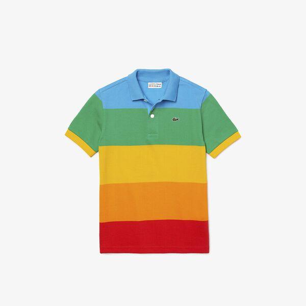 Boys' Lacoste x Polaroid Color Striped Cotton Piqué Polo, FIJI/MALACHITE-GYPSUM-ORP, hi-res