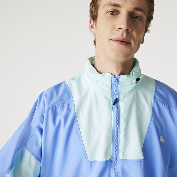 Men's Hooded Lightweight Colorblock Zip Windbreaker, NATTIER BLUE/SYRINGA, hi-res