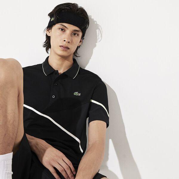 Men's Tennis Ultra Dry Pique Knit Polo, BLACK/WHITE-FLUO ZEST, hi-res