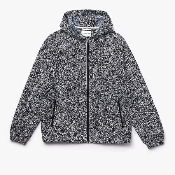 Men's Lacoste SPORT Hooded Print Zip Jacket, NOIR/BLANC, hi-res