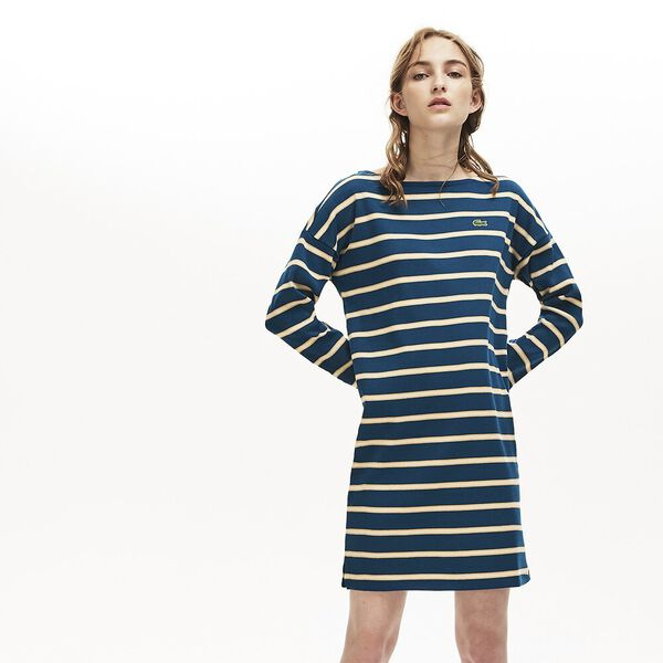 Women's Clean Stripes Heavy Rib Dress, RAFFIA MATTING/VIENNESE, hi-res