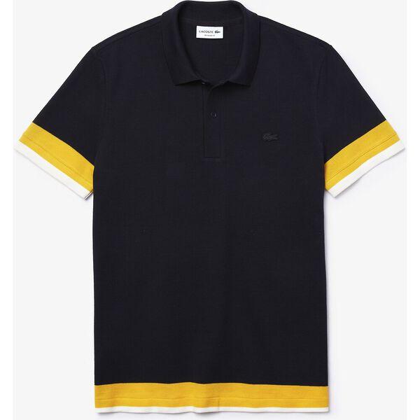 Men's Regular Fit Textured Cotton Piqué Polo, ABYSM/WASP-FLOUR, hi-res