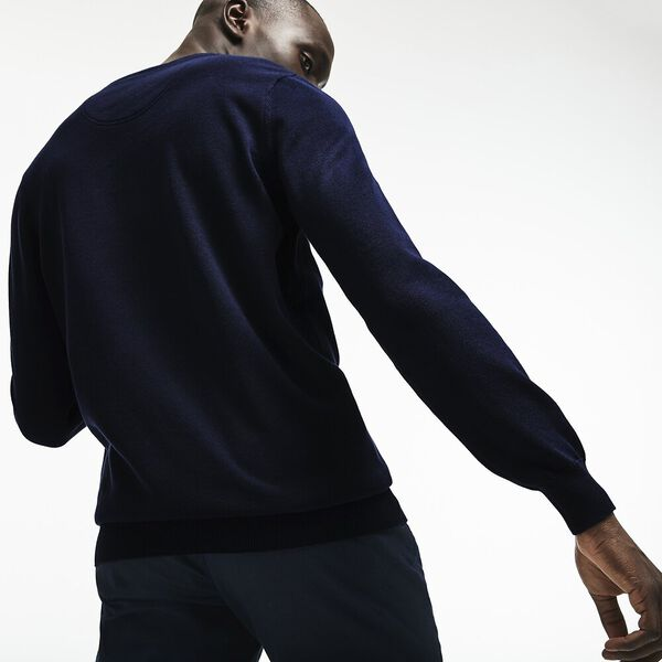 Men's Classic Cotton Crew Neck Knit, NAVY BLUE/FLOUR-NAVY BLUE, hi-res
