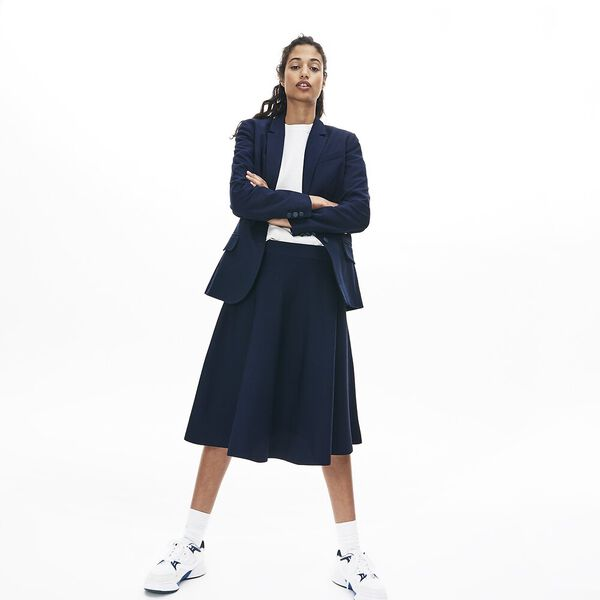 Women's Full Needle Flared Skirt, NAVY BLUE, hi-res