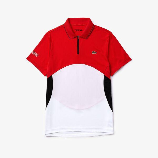 Men's SPORT Ultra-Dry Piqué Zip Tennis Polo, CORRIDA/BLANC-NOIR-BLANC, hi-res