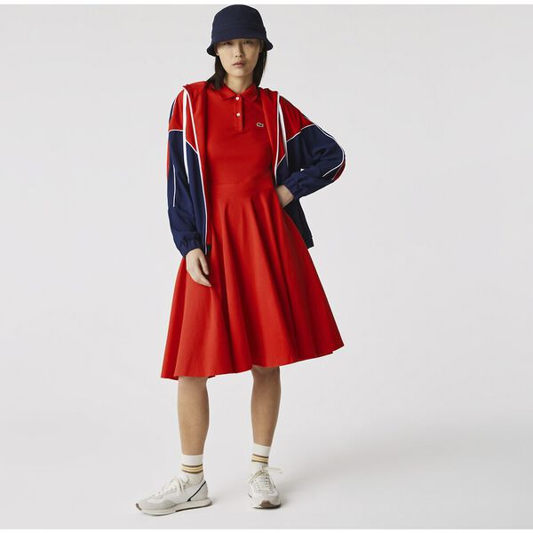 Women's Fitted Cotton Piqué Polo Dress, REDCURRANT BUSH, hi-res
