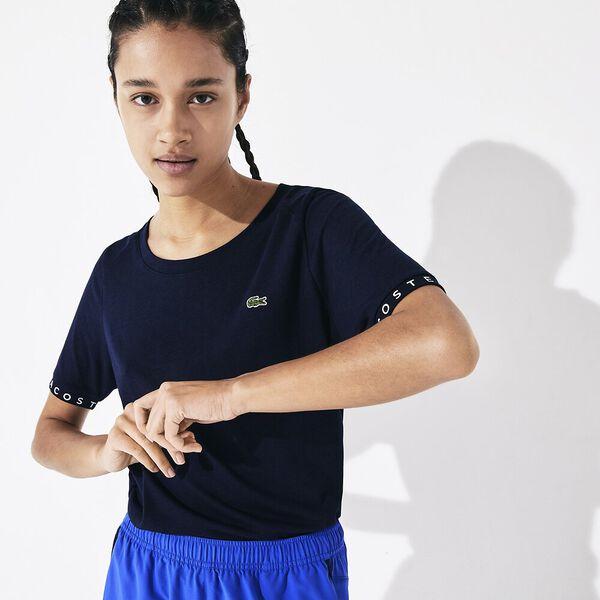 Women's SPORT Flowing Lettered Sleeve Tennis T-shirt, MARINE/MARINE-BLANC-MARINE, hi-res