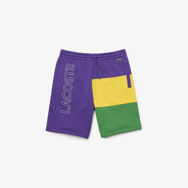 Men's Lettered Colorblock Bermuda Shorts, LAVENDER/BROOM-MALACHITE, hi-res