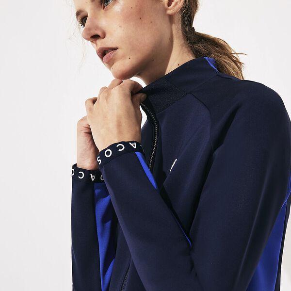 Women's SPORT Lightweight Neoprene Zip Tennis Sweatshirt, MARINE/OBSCURITE-MARINE-BLANC, hi-res