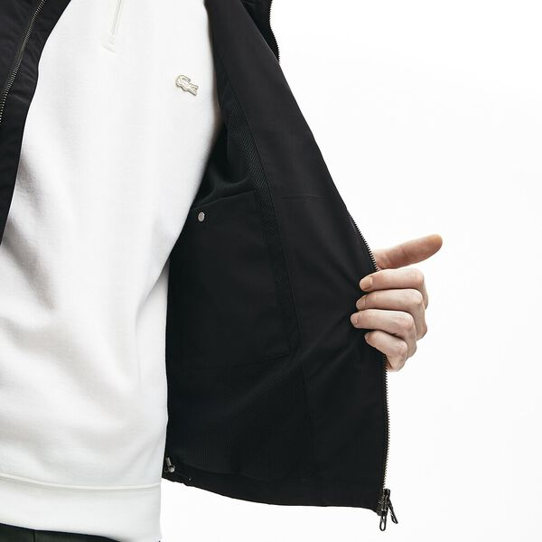 Men's Lightweight Water-Resistant Zip Windbreaker, BLACK, hi-res