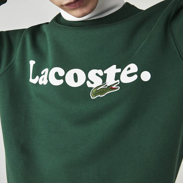 Men's Lacoste And Crocodile Branded Fleece Sweatshirt, GREEN, hi-res