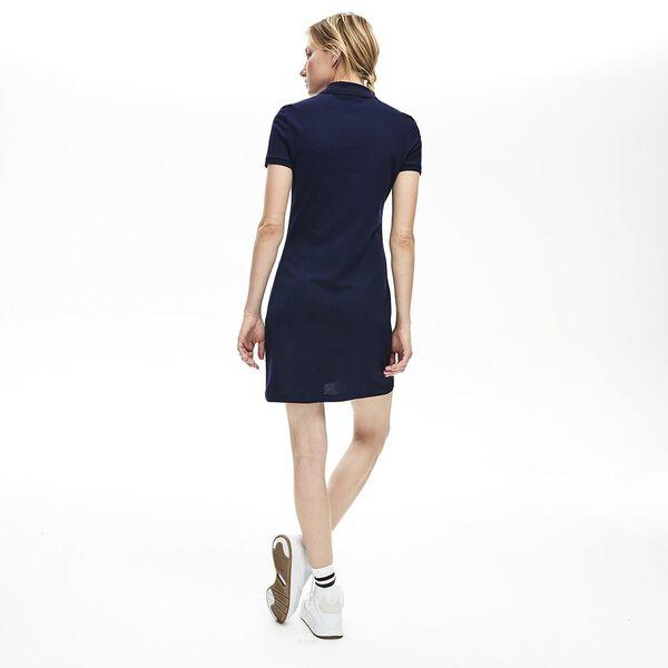 WOMEN'S SLIM FIT CORE POLO DRESS, NAVY BLUE, hi-res