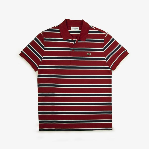 Men's Striped Slim Fit Stretch Polo, ALIZARIN/WHITE-NAVY BLUE, hi-res
