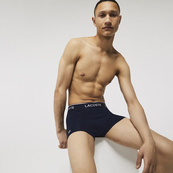 Pack Of 3 Navy Casual Boxer Briefs With Contrasting Waistband, NAVY BLUE/GREEN-RED-NAVY, hi-res