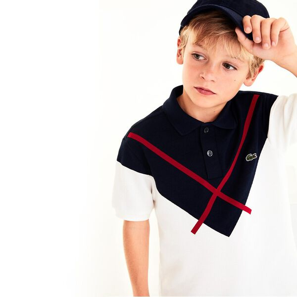 Boy's Taken Down Made In France Polo, FLOUR/NAVY BLUE-ALIZARIN, hi-res