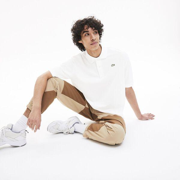 Men's Lacoste LIVE Loose Fit Cotton Piqué Polo Shirt, BLANC, hi-res