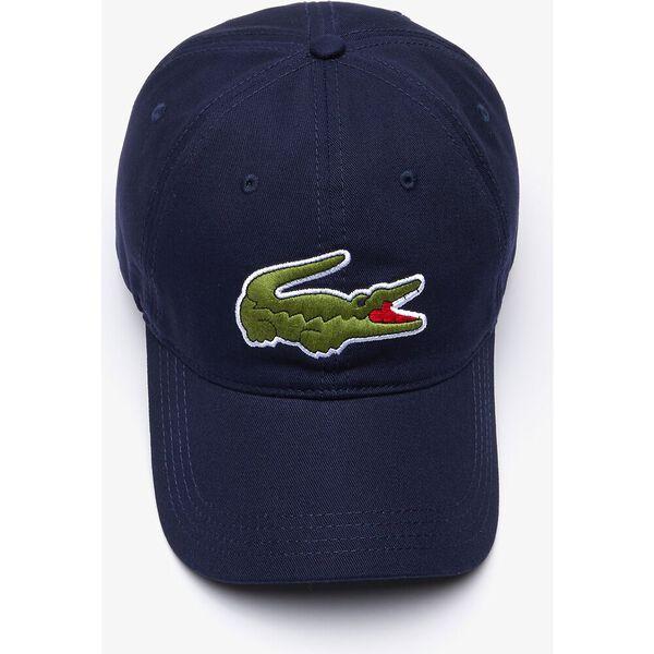 Contrast Strap And Oversized Crocodile Cotton Cap, MARINE, hi-res