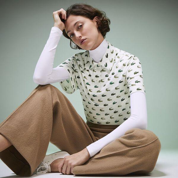 Women's Fashion Show Iconics All Over Print Crocodile Polo, MULTICOLOUR/GREEN, hi-res
