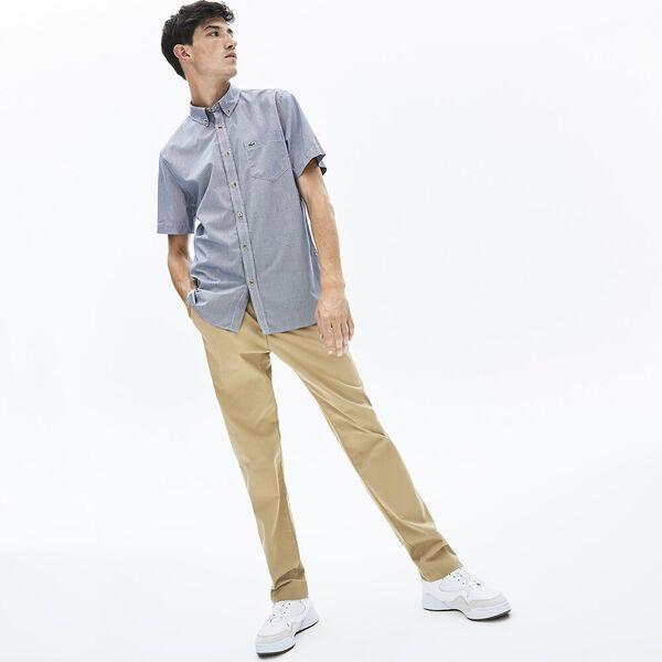 Men's Regular Fit Gingham Cotton Shirt, MARINE SOMBRE/ELECTRIQUE, hi-res