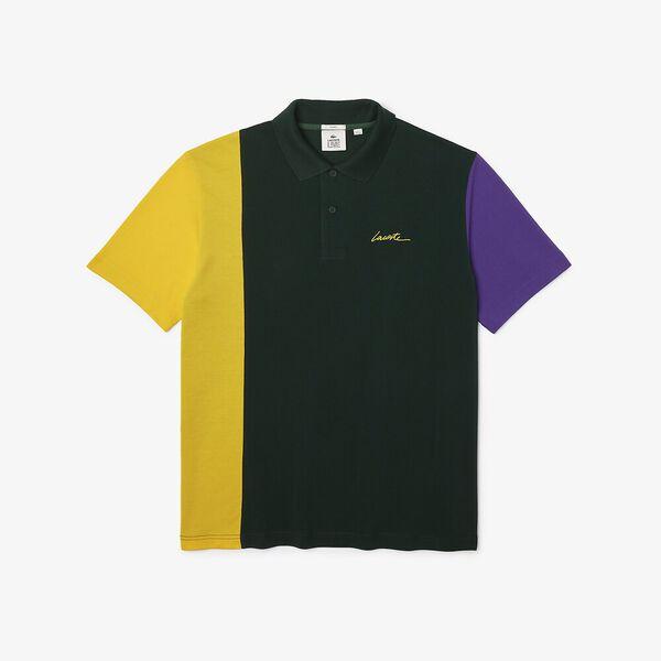Unisex LIVE Loose Fit Colorblock Polo, SINOPLE/BROOM-LAVENDER, hi-res