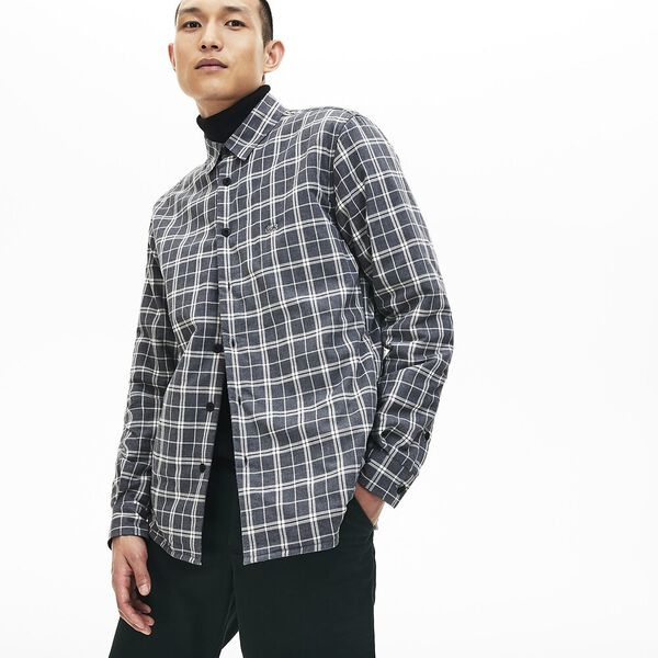 Men's Chic Long Sleeve Padded Check Overshirt
