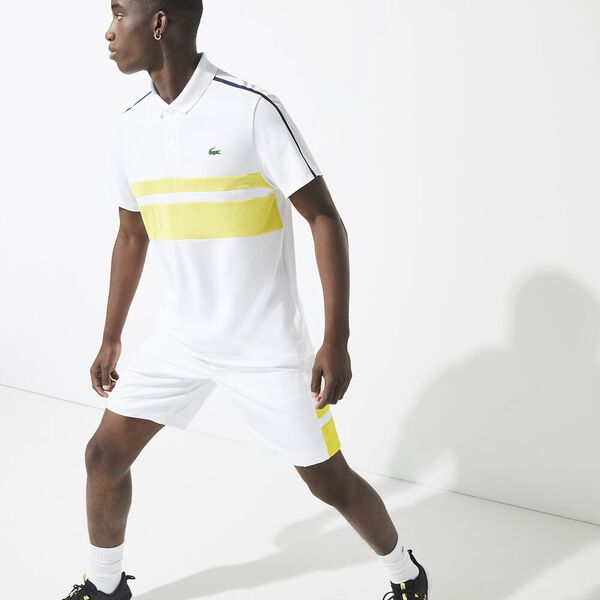 Men's Lacoste SPORT Breathable Resistant Piqué Tennis Polo Shirt, WHT, hi-res