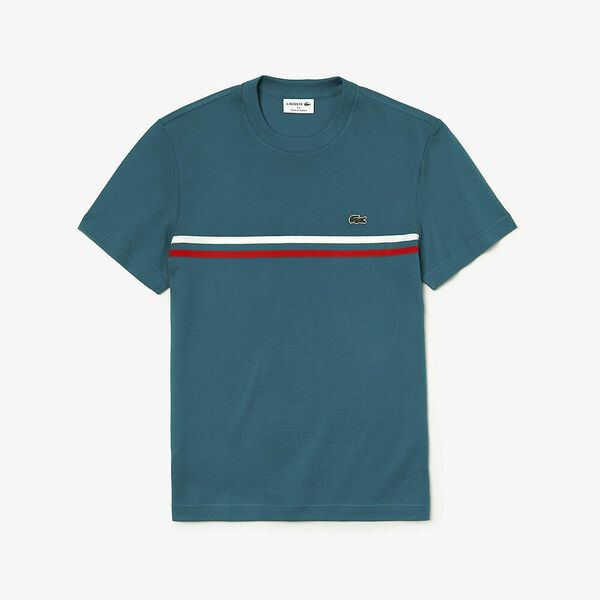 MEN'S MADE IN FRANCE 2 STRIPE TEE, LUCIDA/SALVIA/WHITE, hi-res