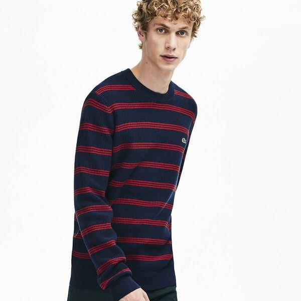Men's Classic Stripe Crew Neck Knit, NAVY BLUE/ALIZARIN, hi-res