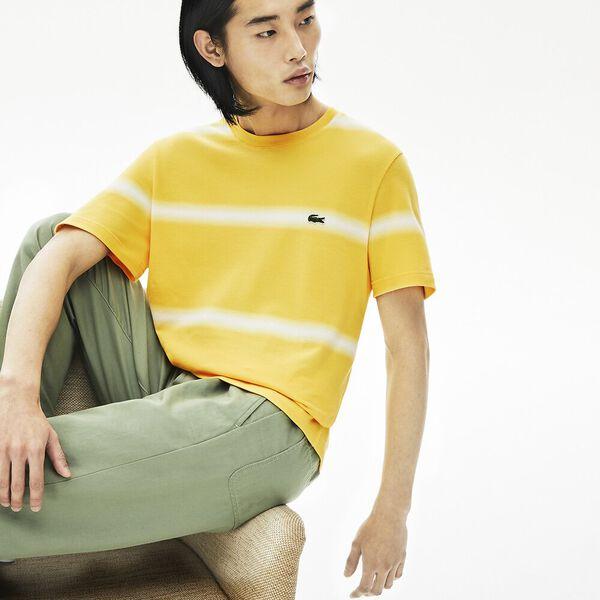 Men's Made in France Striped Cotton Piqué Crew Neck T-shirt