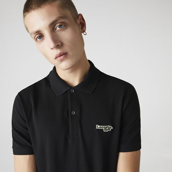 Men's Lacoste Regular Fit Solid Cotton Piqué Polo Shirt With Badge