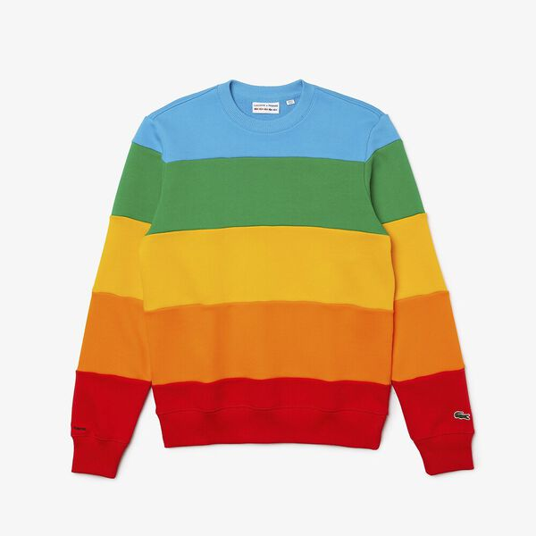 Men's Lacoste x Polaroid Color Striped Fleece Sweatshirt, FIJI/MALACHITE-GYPSUM-ORP, hi-res