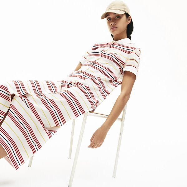 Women's Striped Cotton Buttoned Polo Dress