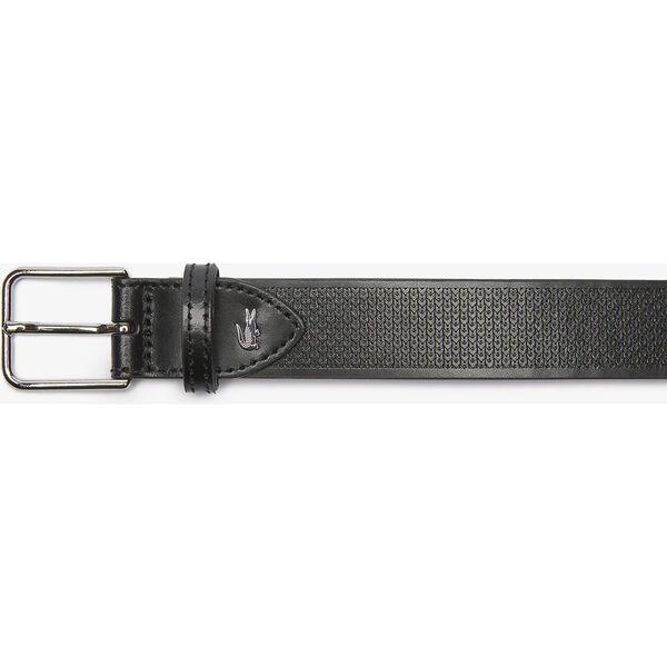 Men's Metal Crocodile Stitched Leather Belt, BLACK, hi-res