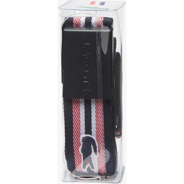 Women's Engraved Lacoste Plate Buckle Striped Belt, MARINE GROSEILLE FARINE, hi-res