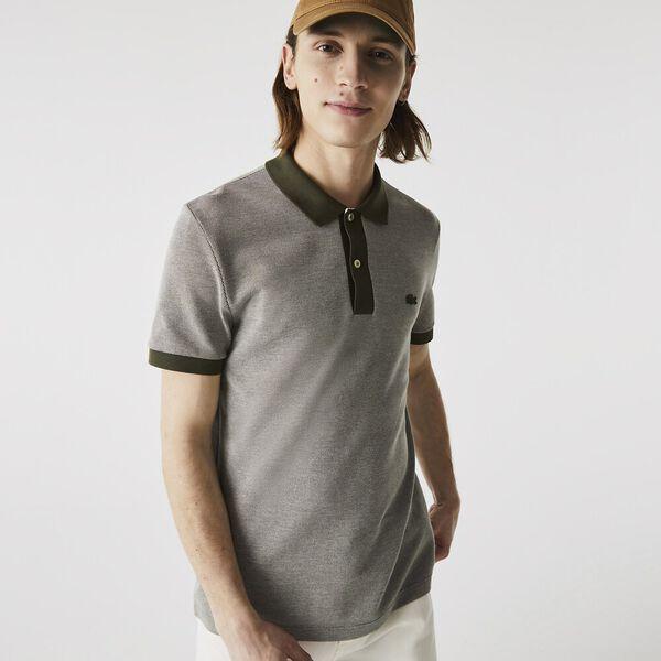Men's Textured Cotton Piqué Polo, BAOBAB/TANK-FLOUR, hi-res