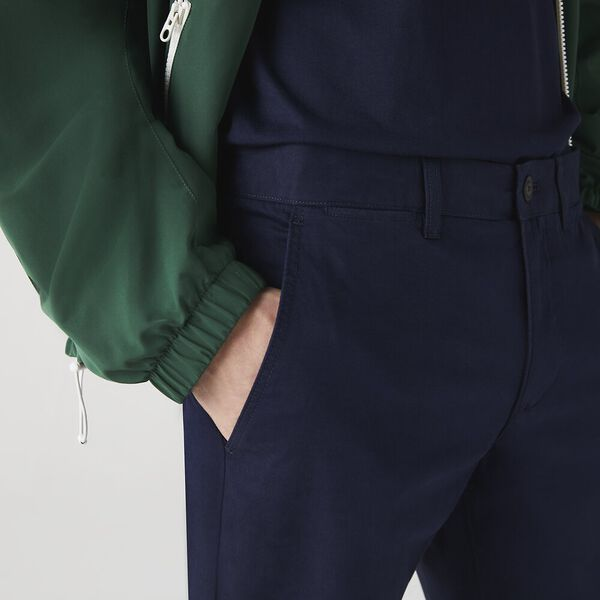 Men's Slim Fit Gabardine Chino Pants, NAVY BLUE, hi-res