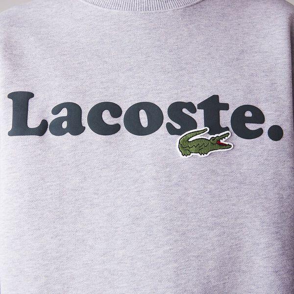 Men's Lacoste And Crocodile Branded Fleece Sweatshirt, SILVER, hi-res