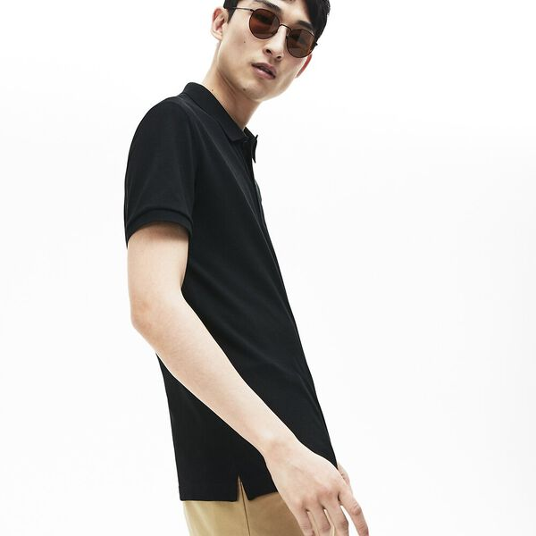 Men's Slim Fit Polo, BLACK, hi-res