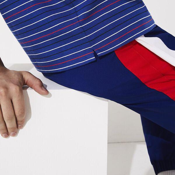 Men's SPORT Striped Cotton Polo, COSMIQUE/CORRIDA-BLANC-NOIR-CALLUNA, hi-res