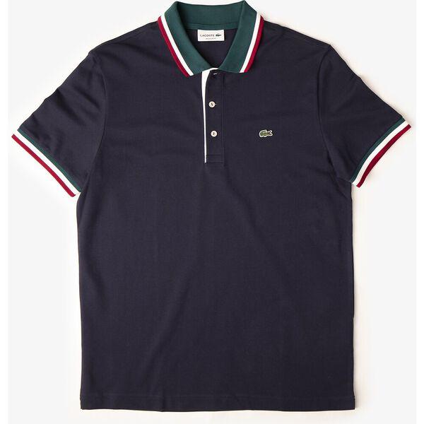 Men's Cotton Piqué Tricolor Details Regular Fit Polo, MARINE/PIN-BLANC-BORDEAUX, hi-res