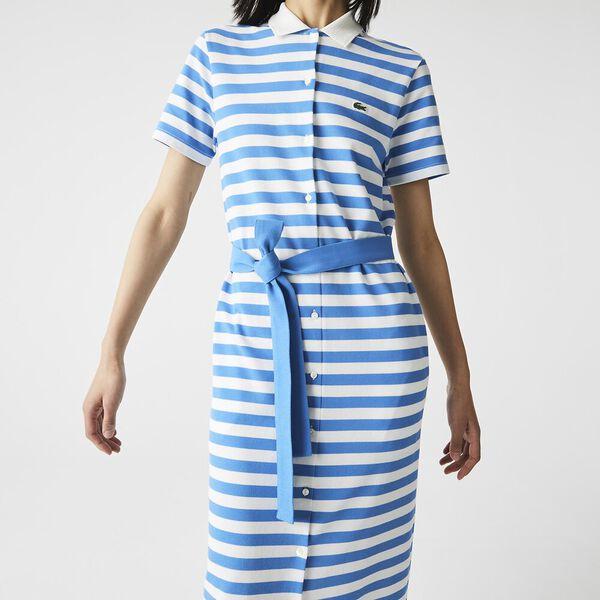 Women's Striped Cotton Piqué Long Buttoned Dress, IBIZA/FLOUR, hi-res