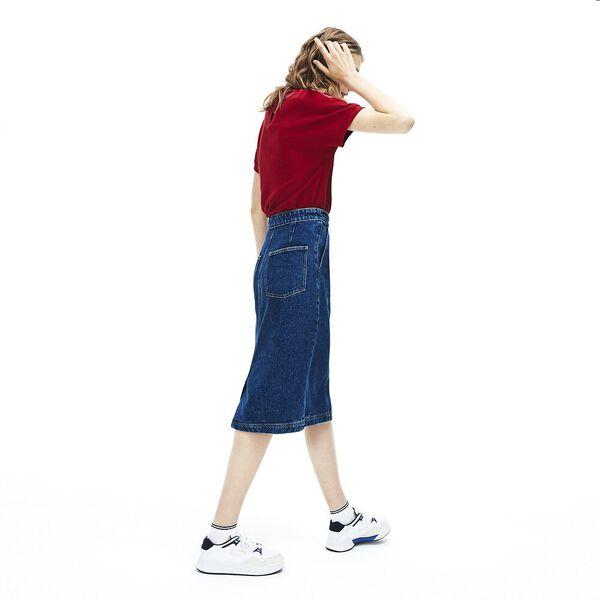 Women's Black Denim Cotton Skirt, MEDIUM BLUE, hi-res