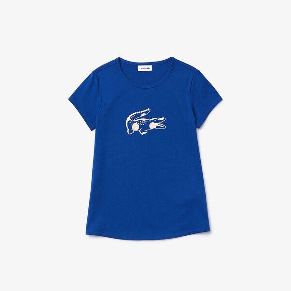 Girl's Printed Cotton Crew Neck T-shirt