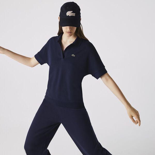Women's Flowy Piqué Shirt, NAVY BLUE, hi-res