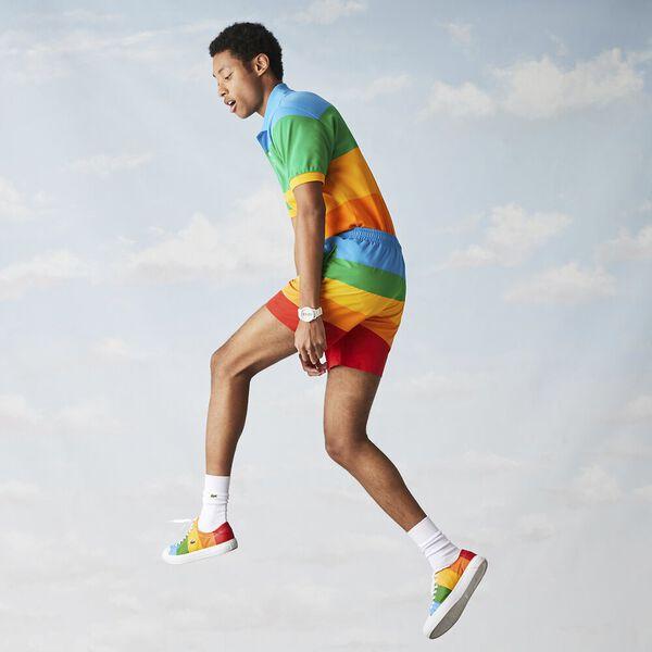 Men's Lacoste x Polaroid Color Striped Swimming Trunks, FIJI/MALACHITE GYPSUM, hi-res