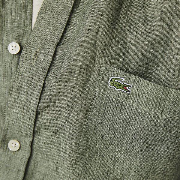 Men's Regular Fit Linen Shirt, TANK, hi-res