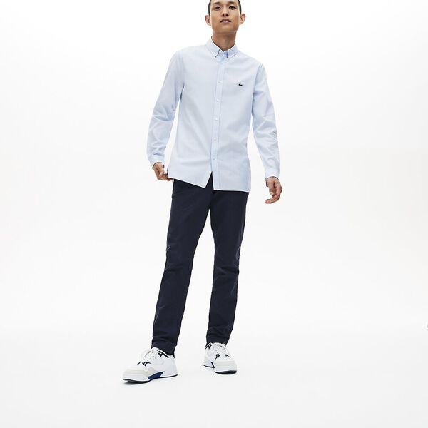 Men's Long Sleeve Slim Fit Jacquard Dot Shirt, HEMISPHERE BLUE, hi-res